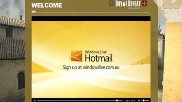 A video ad for Hotmail in the game Day of Defeat.