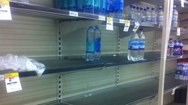 Bottled water almost sold out at Woolworths at Garden City at 3pm today.