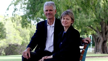 Drew Hutton with fellow Greens co-founder and wife Libby Connors.