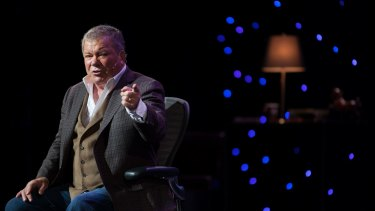 William Shatner on stage during his one man show.