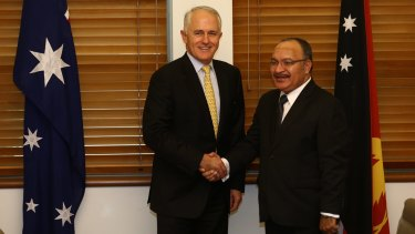 Prime Minister Malcolm Turnbull with PNG Prime Minister Peter O'Neill at Parliament House in Canberra in March.