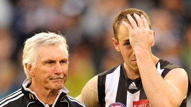 Mick Malthouse and Nick Maxwell after yesterday's grand final defeat.