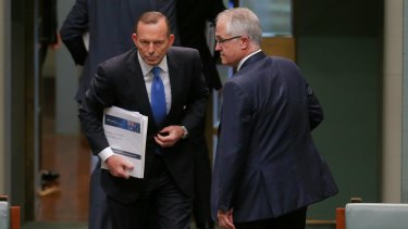 Mr Abbott and Mr Turnbull in Parliament on Monday.