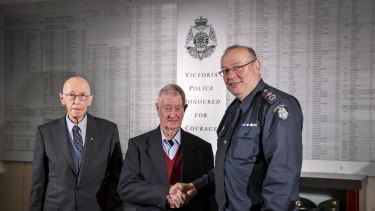 Former chief commissioner Mick Miller, former policeman Denis Ryan and Chief Commissioner Graham Ashton.