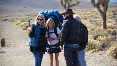 Cheryl Strayed and Reese Witherspoon during filming of <i>Wild</i>, based on Strayed's book of the same name.