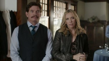 A song and dance: Thomas Haden Church and Toni Collette in <i>Lucky Them</i>.