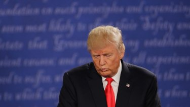 Pulling faces: Donald Trump during the second presidential debate.