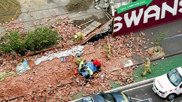 Site of the brick wall collapse in Swanston Street, Melbourne.