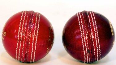 Ball change: The Dukes (left) and Kookaburra cricket balls.