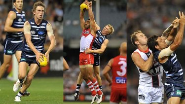 Young guns: Geelong are looking at Billie Smedts (far left), Cameron Guthrie and Steven Motlop to step up.