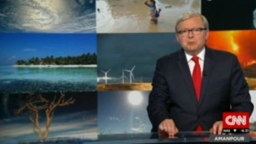 Solid but a little stiff ... Kevin Rudd made his debut as an international television host on CNN program <I>Amanpour</I> on Friday.
