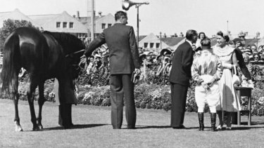Those were the days: Queen Elizabeth at the race named in her honour at Royal Randwick in 1954.