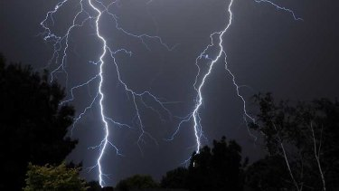 Forked lightning ... The storm in Wagga Wagga last night.