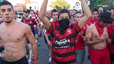 Derby day ... Western Sydney Wanderers fans arrive at Parramatta Stadium to watch their team face Sydney FC in the city's first A-League derby.