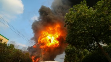 A chemical plant explosion in China in 2015.
