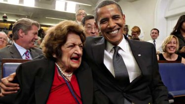Barack Obama and Helen Thomas celebrating together last year - they have the same birthday.