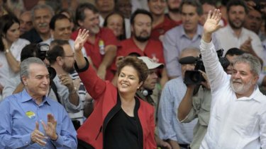 """Once people knew she was Lula's candidate, they backed her.""... Luiz Inacio Lula da Silva alongside Dilma Rousseff."