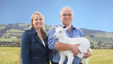 Bubs Australia and NuLac Foods Founders Kristy Carr with John Gommans on Australia's largest goat farm.