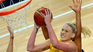 Lost in the semis ... Lauren Jackson jumps to score.