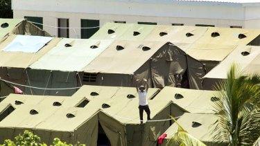 An asylum seeker's protest in Nauru yesterday.