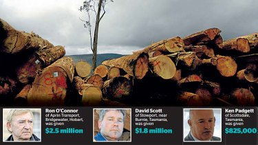 Who got what: Tassie timber 'entrepreneurs' take their cut.