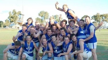 Grae Grant, (bottom, third from right) with his Kalgoorlie Mines Rovers teammates after their premiership win in 2009.