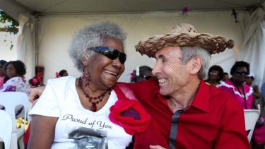 Reunited ... Eddie Mabo's wife, Bonita, with solicitor Greg McIntyre for the 20th anniversary of the Mabo decision.