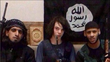 Unconfirmed reports say Jake Bilardi (centre) took part in a suicide bombing.
