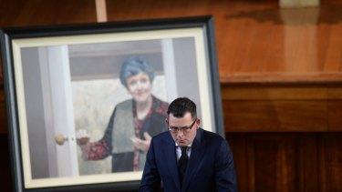 Premier Daniel Andrews at the state funeral for Joan Kirner.