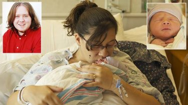 Katie Medley kisses her newborn son Hugo, as husband Caleb, inset, remains in a coma.