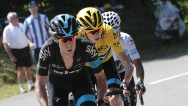 Leading man: Richie Porte sets the pace for teammate and Tour de France leader Chris Froome.