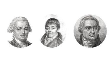 The men behind the French collection, from left: Jean-Francois Laperouse, Jacques-Julien Labillardiere and Joseph Banks.