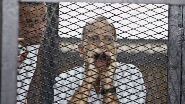 Jailed journalist Peter Greste in court.