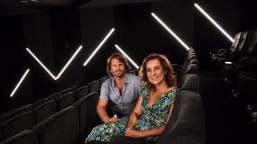 Shane Thatcher and Sonya Stephen, creators of the Choovie app, at the Lido Cinema in Hawthorn.