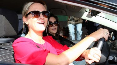 Ladies who lunch... Princess Mary leaves after dining at Chianti Classico in Adelaide with friend and bridesmaid Amber Petty at the wheel.