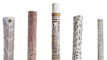Painted poles from the Yolngu community.