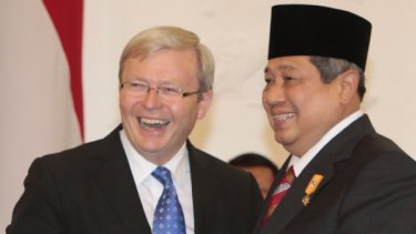 President Susilo Bambang Yudhoyono has arrived in Australia. In this file photo, Indonesia's leader can be seen talking with Prime Minister Kevin Rudd.