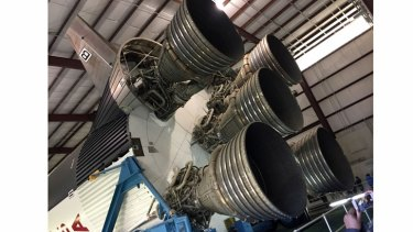 The first stage's Rocketdyne F-1 engines, which fired for 2.5 minutes before falling away into the ocean.