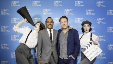 Actors pose with Sydney Film Festival director Nashen Moodley (left) and writer-director Brendan Cowell.