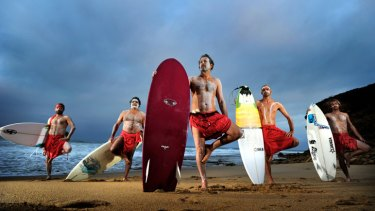 Shore thing: Ready for the indigenous surfing titles at Bells Beach are (from left) Jordie Campbell, Stan Moylan, Tom Avery, Anthony Hume and Russell Molony.
