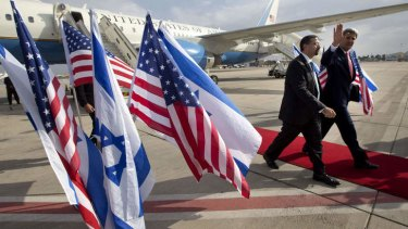 """""""No illusions"""": US Secretary of State John Kerry walks alongside US ambassador to Israel Dan Shapiro as he arrives in Israel for a private meeting with Prime Minister Benjamin Netanyahu on Friday."""