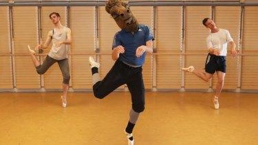 From left, Rohan Furnell, Joseph Chapman and Luke Marchant practice dancing en pointe.