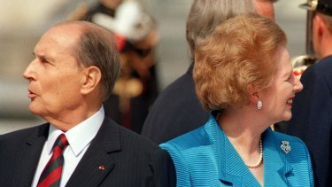 Different directions ... French president Francois Mitterrand with Margaret Thatcher in 1989. Her relations with European leaders were fraught.