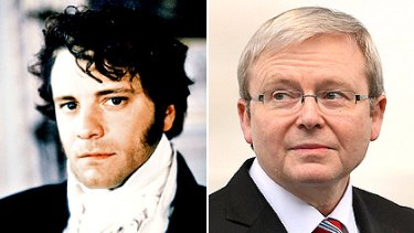 'It was very Pride and Prejudice' ... Therese Rein compares her husband and Prime Minister Kevin Rudd (right) to Jane Austen's romantic and haughty character Mr Darcy, played by actor Colin Firth (pictured left), in a BBC adaptation of the book.