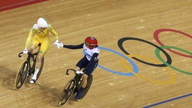Well done ... Anna Meares shakes hands with Britain's Victoria Pendleton.