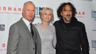 <i>Birdman</i>: (From left) actors Michael Keaton, Naomi Watts and director Alejandro G. Inarritu at the New York Film Festival.