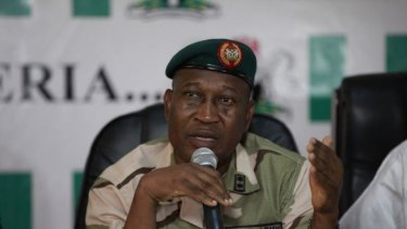 Search: Brigadier General Chris Olukolade, Nigeria's top military spokesman, speaks during a news conference on the abducted schoolgirls in Abuja, Nigeria.