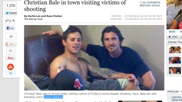 Christian Bale with shooting victim Carey Rottman in hospital. Bale had asked that the visit be kept quiet until Mr Rottman posted this picture on his Facebook page.
