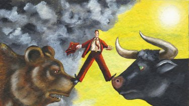 Between bears and bulls … investors often make irrational decisions depending on the market.
