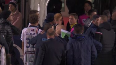 Hume City fans were shown throwing bottles at Central Coast Mariners after their 1-0 loss in the FFA Cup.